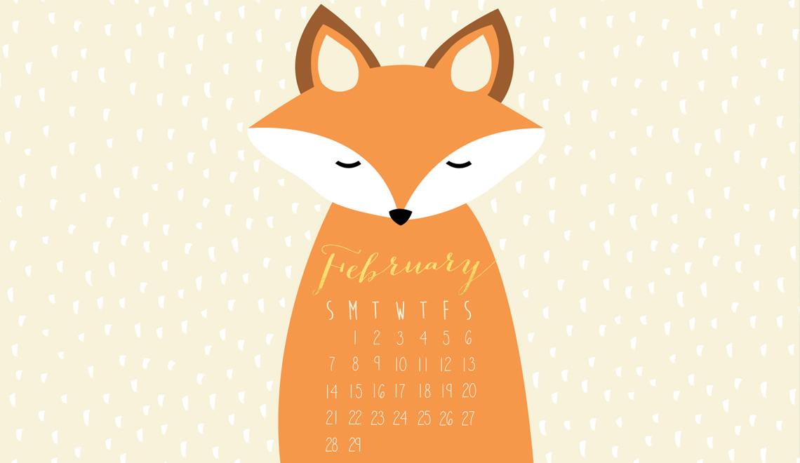 Free 2016 February Desktop Calendar!